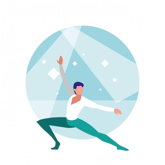 Ballet dancer man isolated icon