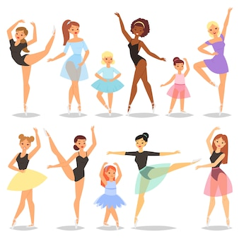 클래식 발레 댄서 여자 또는 흰색 배경에 고립 된 발레 스커트 투투 그림 세트에서 발레 댄서 벡터 발레리나 캐릭터 춤