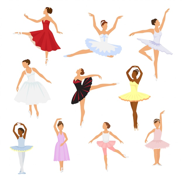 Ballet dancer vector ballerina woman character dancing in ballet-skirt tutu illustration set of classical ballet-dancer girl isolated.