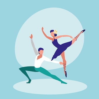 Ballet dancers couple isolated icon