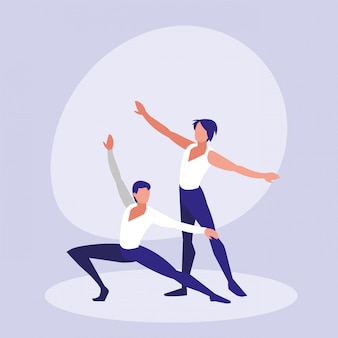 Ballet dancers men isolated icon
