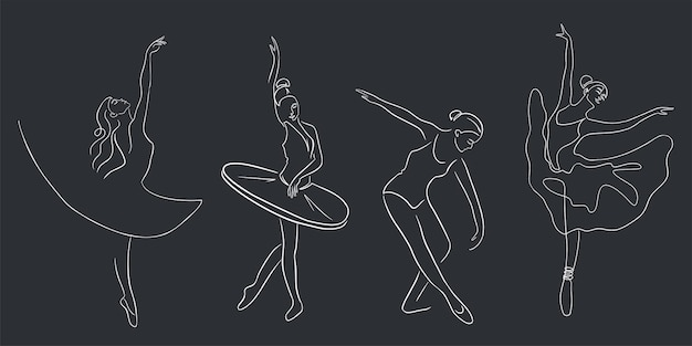 Ballet dancers set. continuous line art. collection of ballerinas in graceful postures, with pointe shoes and tutu. premium vector