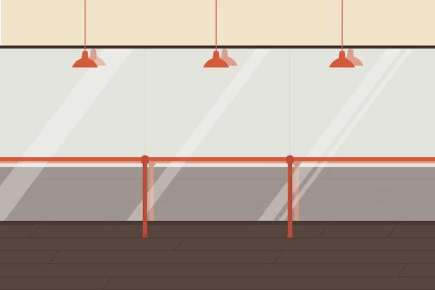 Ballet dancing studio, empty dance class interior with wooden floor, handrails and mirror vector illustration.