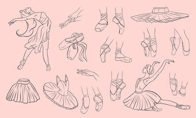 Набор балетной моды. мультяшный стиль.