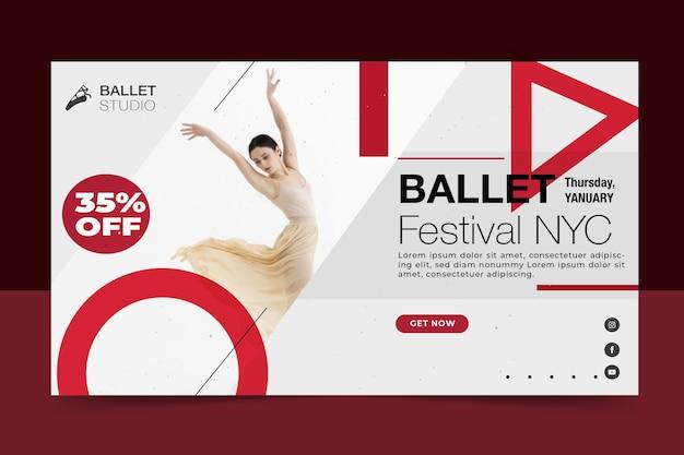 Disegno del modello di banner festival di balletto