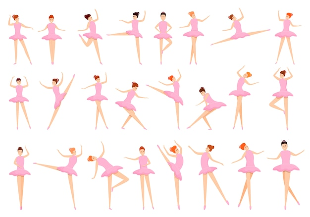Ballet icons set, cartoon style