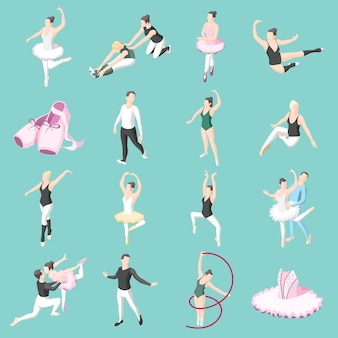 Ballet isometric icons set of dancer couples ballerinas in dancing poses and doing training exercises