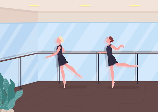 Ballet lesson flat color illustration. dancers rehearsing. girl train choreography. practice in ballroom. active lifestyle. ballerina 2d cartoon characters with mirror gym on background