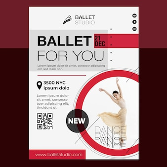 Ballet lessons poster template design