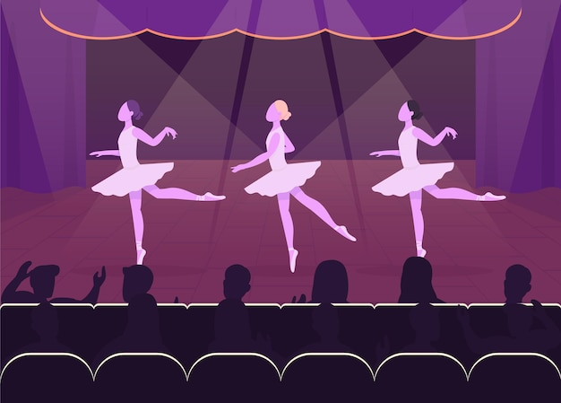 バレエパフォーマンスフラット。美しい夜のイベント。群衆の前で踊るゴロゴロ バレリー 素敵な装飾が施されたステージのある 2d 漫画のキャラクター