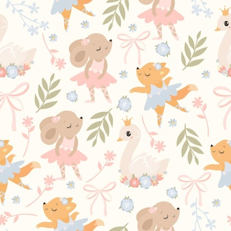 Ballet seamless seamless pattern with animals