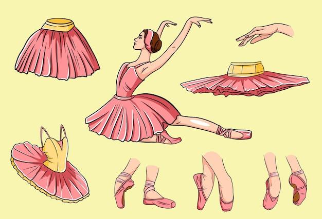 Балетный набор. балерина и пуанты. ноги балерины в балетных туфлях. пачки и балетные платья.