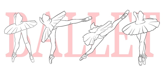Балетный набор. балерина в пуантах и пачке. ноги танцора. штриховая графика. векторная иллюстрация для дизайна и декора.