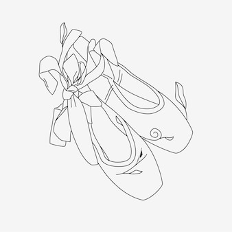 Ballet shoes with line art style 3