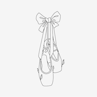 Ballet shoes with line art style 4