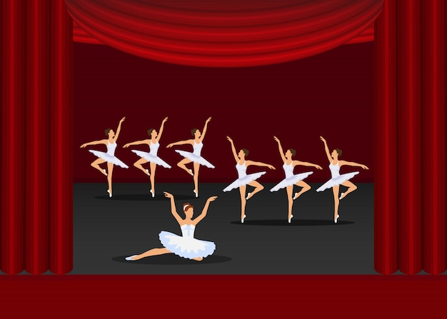Ballet show dancing girls artists on red curtains stage  illustration.
