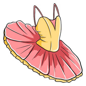춤을 추는 발레 투투. 노란색과 분홍색. 댄스웨어.