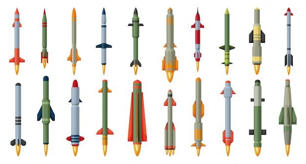弾道ミサイル漫画は、アイコンを設定します。白い背景の上の図の軍事ロケット。孤立した漫画セットアイコン弾道ミサイル。