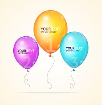 Ballon isolated on white background, be used for web , step up options, brochures. option banner