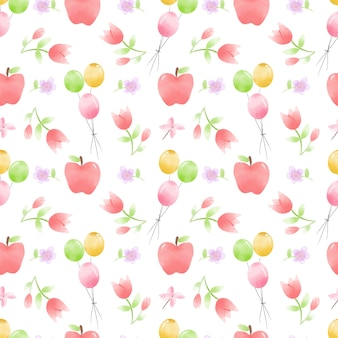 Ballons, flowers and apples watercolor seamless pattern
