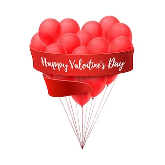 Ballons in form of heart with red ribbon isolated on white background.