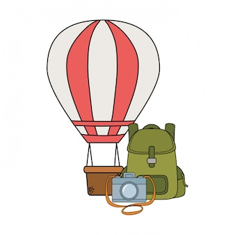 Balloon air hot flying with travelbag and camera