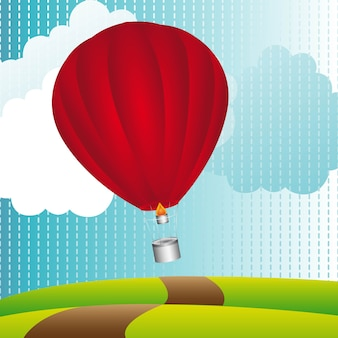 Balloon air over landscape background, vector illustration