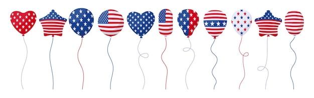 Balloon american independence day flag celebration cartoon set