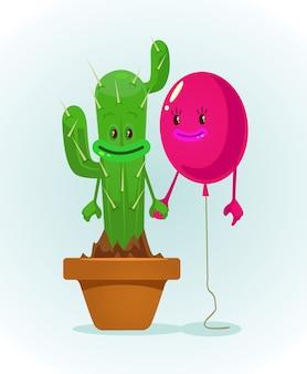Воздушный шар и кактус персонажи лучшие друзья. плоский мультфильм иллюстрации