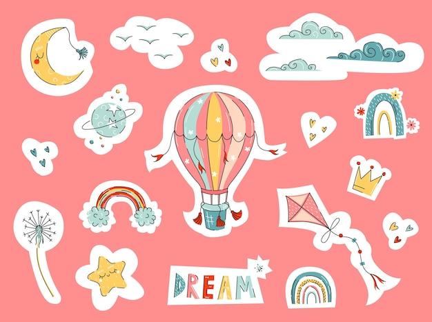 Воздушный шар и детские наклейки с рисованной воздушным змеем и радугой, а также дизайн значков в плоском стиле