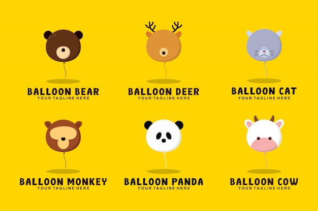 Balloon animal collection with flat style logo illustration