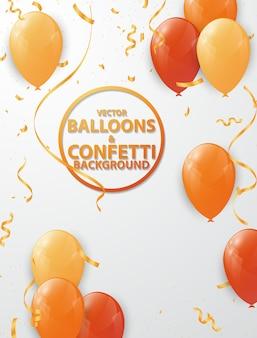 Balloon background and orange ribbon
