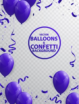 Balloon background and purple ribbon
