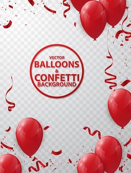 Balloon background and red ribbon