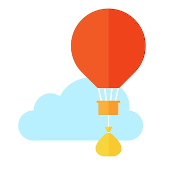 Balloon and bag of gold. flat design. money concept. white background and blue cloud