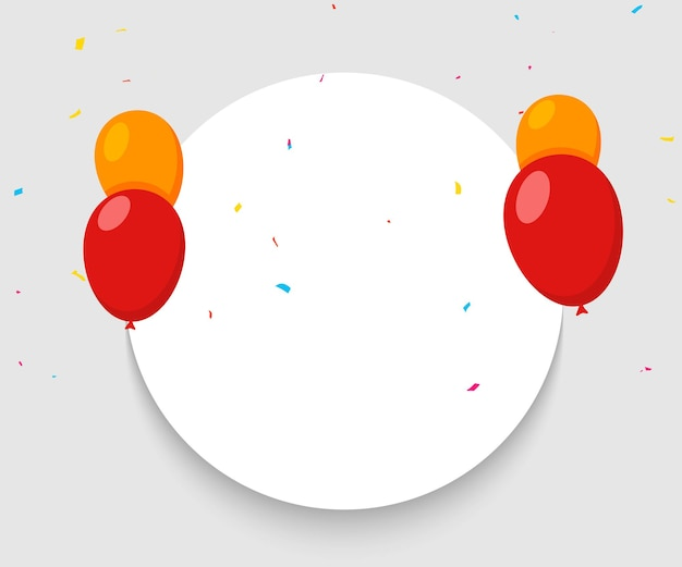 Balloon banner happy birthday background. celebrate party surprise balloon banner carnival anniversary.
