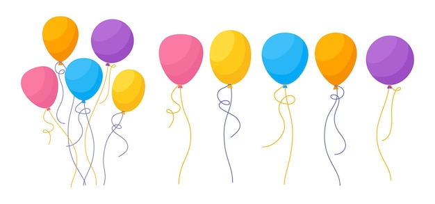 Balloon birthday colored cartoon set bright glossy bunch helium air balloons flat party