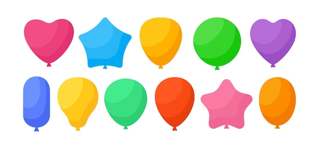 Balloon birthday colored cartoon set rainbow glossy helium air balloons flat collection for party