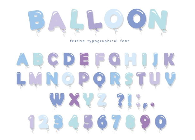 Balloon blue font. cute abc letters and numbers.