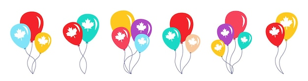 Balloon bunch canada day flag, colorful cartoon set, glossy groups helium air balloons