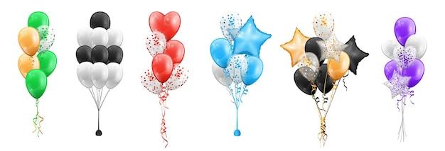 Balloon bunches set heart circle and star shapes