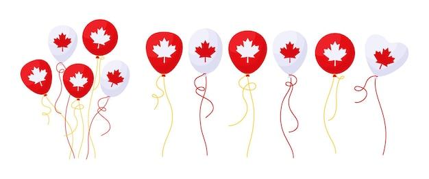 Balloon canada day flag cartoon set, bunch flags glossy helium air balloons