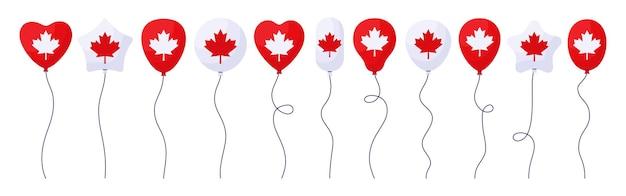 Balloon canada day flag cartoon set, glossy helium air balloons patriotic celebration