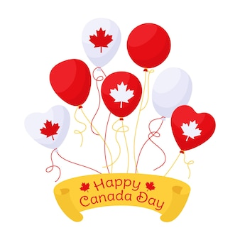 Balloon canada day greeting card, balloon with flag usa bunch glossy helium air balloons