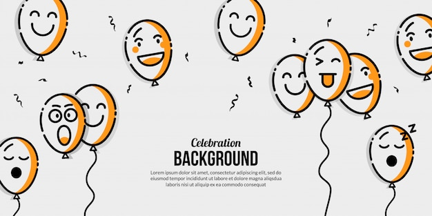 Balloon celebration banner with multiple emotional
