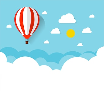 Balloon and cloud in the blue sky with flat design.