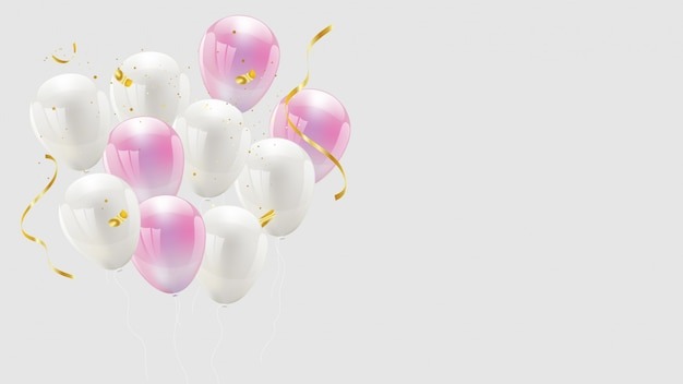 バルーンの色はピンクと白、紙吹雪とゴールドのリボン。豪華なグリーティングカード。