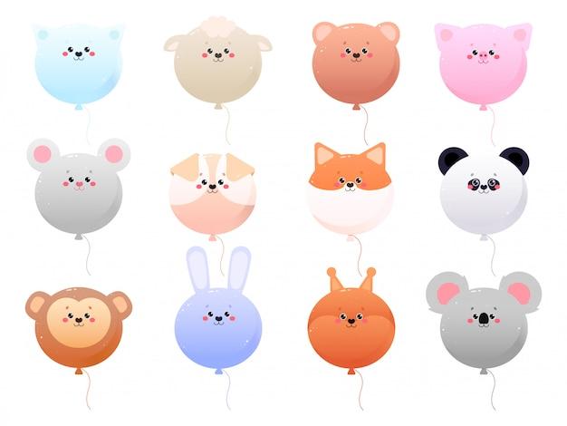 Balloon cute kawaii animals isolated