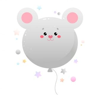 Balloon cute kawaii mouse, rat. animal isolated