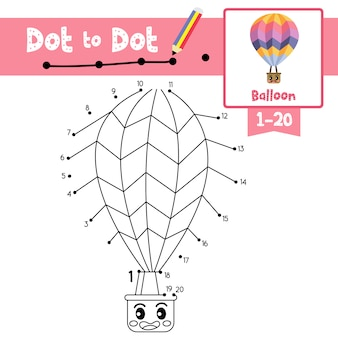 Balloon dot to dot game and coloring book